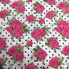 Pink Roses & Polka dots 100% Cotton Sewing fabric per yard