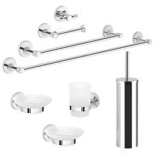 Accessori bagno set 8 pezzi Gedy metallo cromato e vetro satinato arredo design