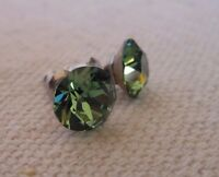 HYPOALLERGENIC Earrings Surgical Steel Swarovski Elements Crystal Medium Green