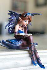 "Pretty Bookworm Faery Fairy 'Sitter' Hand-Painted 3.5"" Statue Figurine Artwork"
