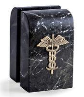 BOOKENDS - CADUCEUS MARBLE BOOKENDS - MEDICAL BOOKENDS - DOCTOR - NURSE