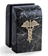 BOOKENDS - CADUCEUS MARBLE BOOKENDS - MEDICAL BOOKENDS - DOCTOR - NURSE