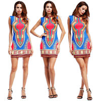 Women Traditional African Print Dashiki Bodycon Sleeveless Party Short Dress New