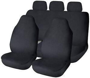 Black Waterproof Full Set Front & Rear Car Seat Covers for Fiat Panda 04-On