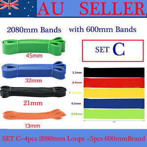 SET OF 9 HEAVY DUTY RESISTANCE BAND LOOP POWER GYM FITNESS EXERCISE YOGA WORKOUT
