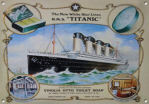 Titanic, Vinolia soap, Vintage style, Metal sign, Collectable, Enamel, No.601