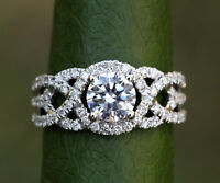 2.00 Ct Sim Diamond 14K White Gold Twisted Solitaire & Accents Engagement Ring