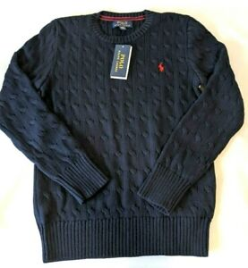 Polo Ralph Lauren Youth Boys Sweater Red Navy Stripe Long Sleeve