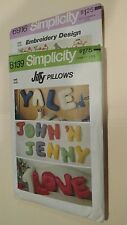 Lot of 2 Simplicity Patterns No. 8139 Letter Pillows & No.6916 Embroidery Design