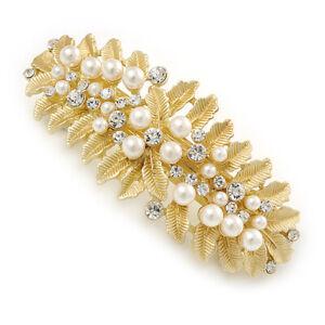 Large Bright Gold Tone Matt Diamante Faux Pearl Leaf Barrette Hair Clip Grip -