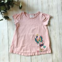 Hanna Andersson Girls Size 100 US 4 Pink Butterfly Short Sleeve Tee Top