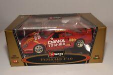 V 1:18 BBURAGO BURAGO 3332 FERRARI F40 1987 DANKA TOSHIBA MINT BOXED