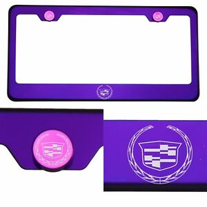 Candy Purple License Frame T304 Stainless Steel Laser Engraved New Cadillac Logo