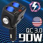 Car Cigarette Lighter Socket 12v Charger Power Adapter 2usb Led Splitter Outlet