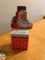 Vintage santa  paper coin box from advertising  lincoln savings bank B1
