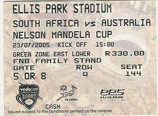 Sud AFRICA AUSTRALIA V 23 JUL 2005 Ellis Park, Jo' Burg RUGBY BIGLIETTO