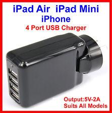 4 Port USB AC Charger iPad Air 2 Mini 3 iPhone 6 Plus Black Suits All Models