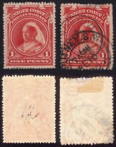 NIGER COAST Prot. 1894 1d Scott#44 MH(disturbed gum) and USED(damged) @P413