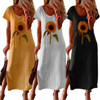 Women Summer Sunflower Short Sleeve Casual T-shirt Dress Loose Plus Size