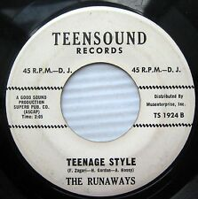 THE RUNAWAYS Teenage Style / Kangaroo Hop WHITE LABEL PROMO 45 TEEN Popcorn w483