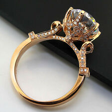 3CT Vintage Solid 14K Rose Gold Diamond Women Ring Promise Anniversary Ring