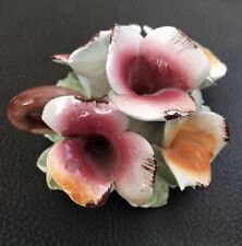 """Capodimonte Porcelain Flowers Italy Made Size 3""""x3.5"""""""