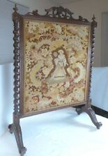 Antique Victorian Mahogany Fire Screen Needlepoint