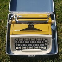 Vintage Royal Safari Typewriter With Script/Cursive Font with Case YELLOW