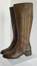 Franco Sarto Christie Leather Ridding Boots Side Zip Closure Stacked Heel US 5.5
