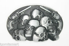 New Cool Man Men Silver Black Skull Heads & 2 Pistol Revolver Belt Buckle
