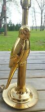 Vintage Solid Brass Parrot Bird Table Lamp 28 inch with Brass Finial, 3 way bulb