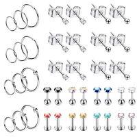 40PCS Stainless Steel Tiny Stud Earrings Hoops CZ Labret Lip Tragus Ear Piercing