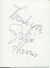 """JULIE HARRIS """"EAST OF EDEN"""" ACTRESS WITH JAMES DEAN SIGNED CARD AUTOGRAPH"""