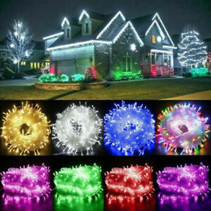 20-1000 LED Solar/Electric String Lights Fairy Lamp Xmas Outdoor Garden Party UK