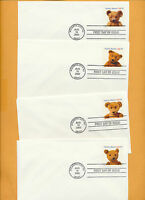 Teddy Bears Set of 4 No Cachet 2002 first day covers Great for Artist LOT 789
