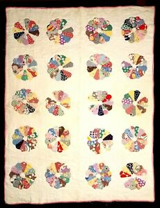 """Antique Crib Quilt Dresden Plate 6 1/2 """"  """"Plates"""" Good Condition 1920's-30's"""