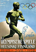 Art Ad  1952 Finland Helsinki Olympic Games  Travel Poster Print
