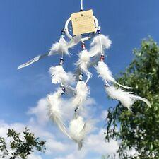 New Small Beaded Cream White Feather Dream Catcher Native American Mobile Ref119