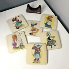 Vintage Retro Woolbro Kitsch Coasters In Stand