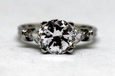 14K Solid White Gold and Cz (3.5ct) Ring Size 8 3/4