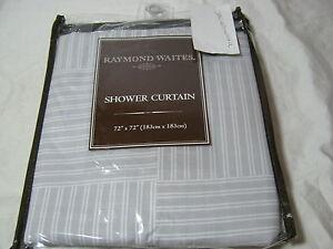 RAYMOND WAITES BLock Island  SHOWER CURTAIN 72x72 Gray and White Stripe New