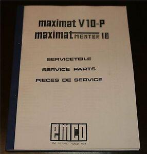 Maximat V10-P & Maximat Mentor 10 Lathe parts list