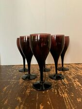 Vintage Amethyst Purple Glass 6 Ounce Wine Stem Set of 6 F