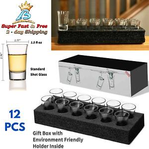 Shot Glass Server Set Bar Glasses Holder Tequila Vodka Whiskey Rustic Bar Tray