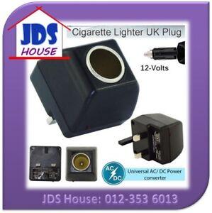 AC 240V Wall UK 3 Pin Plug to DC12V Car Cigarette Lighter Socket