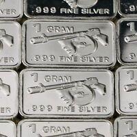 """Thompson Machine Gun"" Lot of 10, 1 gram .999 Fine silver bullion bar. Military"