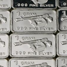 """Machine Gun"" Lot of 10, 1 gram .999 Fine silver bullion bar. Gangster, Military"