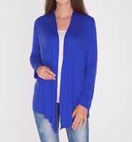 Classic Open Front Royal Blue Draped Cardigan Top Shirt Sweater SML/Plus Size