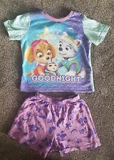 Girls Age 2-3 Paw Patrol Blue And Purple Shorts Pyjamas 'Goodnight'