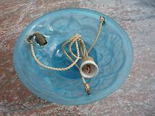 lustre/vasque art déco en verre moulé bleu pressé signé Degué